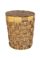 BROWN WICKER LAUNDRY BASKET COTTON LINING ROUND LID BATHROOM/BEDROOM/KITCHEN