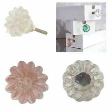 VINTAGE SUPERIOR FLOWER SHAPED GLASS DOOR KNOBS CABINET HANDLES DRAWER PULLS