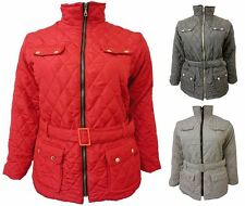 Womens Padded Belted With Pockets Quilted Collar Plus Size Winter Jacket Coat