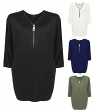 Womens V Neck Long Sleeve Baggy Batwing Curved Hem Blouse Zipped Plus Size Top