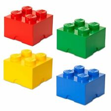 Lego Medium Storage 4 Brick Red Blue Yellow Green Kid's Toy Box Container