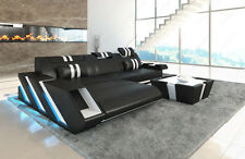 Leather sofa Corner Couch APOLLONIA L-shaped Designer Couch + LED lighting + USB