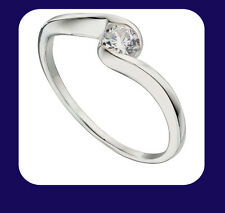 Argento Sterling Solitaire Twist Anello (misure I - U disponibile)