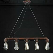 HL427 5 head E27 copper pipe industrial steampunk ceiling vintage light pendant