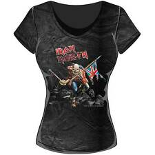 Iron Maiden T Shirt Trooper Skinny Fit Acid Wash Womens Ladies Official Licensed