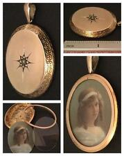 STUNNING SUPERLARGE GEM SET 15CT ROSE GOLD 'PULL OUT'  PICTURE LOCKET CIRCA 1880