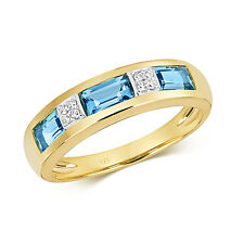 Svizzero Topazio Blu E Diamanti Anello Eternity 9ct Oro