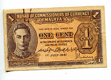 BOARD OF CURRENCY OF MALAYA 1 CENT KGV1 USED