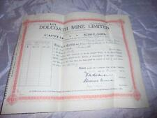 ORIGINAL 1922 DOLCOATH MINE CORNISH TIN MINING SHARES CERTIFICATE 60 SHARES #4