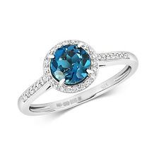 London Topazio Blu & 0.12ct Anello Diamante 9ct Oro Bianco