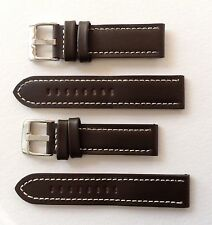 LEATHER WATCH STRAP DK BROWN/WHITE STITCHING 18MM-24MM - PANERAI/U BOAT/TW STEEL