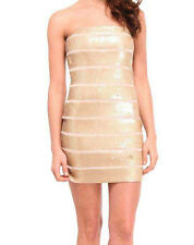BNWT FOREVER UNIQUE GOLD SEQUIN STRIPE BOOB TUBE POLLY DRESS  ***RRP £140.00***