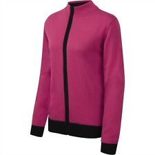 Cypress Point Zip Golf Cardigan Rosa Fucsia/Nero Misto Lana 12,14,16,18 Nuovo