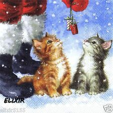 SERVIETTES EN PAPIER CHAT CHATON ET PERE NOEL PAPER NAPKINS CATS AND SANTA CLAUS
