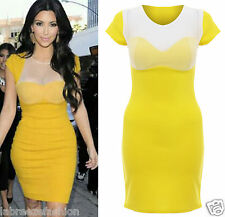Ladies Kim Kardashian Padded Bra Mesh Insert Bodycon Dress Midi