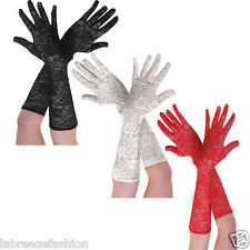 Ladies Elegant Long Lace Glove Wedding Party Evening Prom Gloves