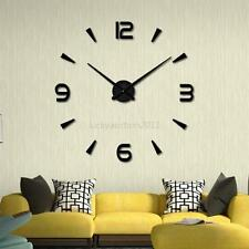 3D DIY Modern Large Wall Clock Mirror Surface Sticker Home Office Room Decor