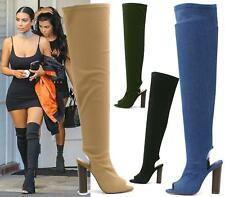 LADIES WOMENS THIGH BLOCK HIGH HEEL PEEP TOE CANVAS STRETCH OVER THE KNEE BOOTS