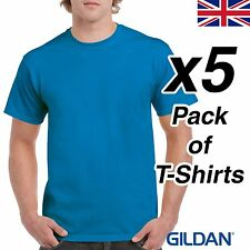 Mens Sapphire Blue T Shirt 5 Pack Gildan Heavy Cotton Tee Top Plain Cheap Work
