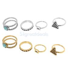 Bohemian Gold Silver Stack Above Knuckle Ring Band Midi Finger Rings 4pcs / Set