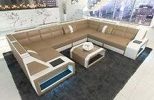 Leather Sofa Corner couch Set PESARO XL U-shaped+LED lighting sand beige white