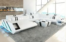 Interior Design Leather Sofa Apollonia XLL Couch + LED + USB White - Black