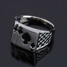 Cool Ace Spades Poker Card Ring Personality Heart Shape Silver Plated