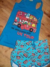 Ladies MR MEN LITTLE MISS Pyjamas Primark T Shirt Vest Top Shorts Womens Pajamas