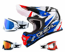Oneal 3Series Shocker Casco cross azul rojo incl. TWO-X Race Gafas De MX Enduro