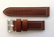 PANERAI REPLACEMENT WATCH STRAP BROWN/WHITE STITCHING 20MM-24MM  U BOAT/TW STEEL