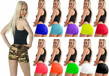 Ladies Neon Colour Lycra Stretchy Sexy Hot Pants Dance Party Shorts