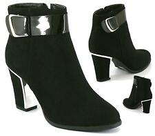 LADIES WOMENS ANKLE MID HIGH BLOCK CHUNKY HEEL ZIP CHELSEA SHOES BOOTS SIZE 3-8