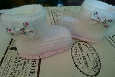 Hand Knitted White with Pink Sole Bootees Boots , 0-3, 3-6 or Reborn