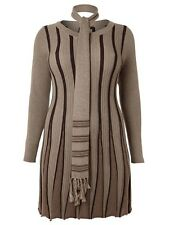 SAMYA PLUS SIZE RETRO STRIPE SCARF SKATER STYLE MIDI DRESS BROWN 18 20 22 24 26