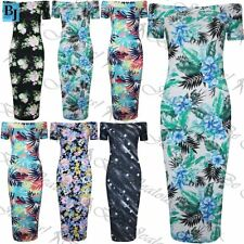 Ladies Floral Print Slim Bardot Bodycon Dress Womens Off the Shoulder Midi Dress