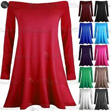 New Ladies Womens Bardot Plain Off the Shoulder Top Skater Swing Mini Dress