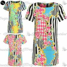 Ladies Womens Scoop Neck Celebrity Neon Bright Floral Stripe Shift Tunic Dress