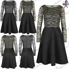 Ladies Womens Floral Contrast Lurex Shiny Glitter Swing Party Midi Skater Dress