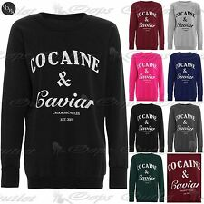 Ladies Womens Printed Cocaine And Caviar Sweatshirt Pullover Jumper T Shirt Top