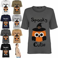 New Womens Scary Spooky Halloween Baggy Cutie Cap Sleeve Oversize Tee Shirt Top