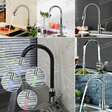 Professional (Chrome) Modern Pull Out Kitchen Taps Mixer Swivel Brushed Faucet