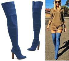 LADIES THIGH HIGH DENIM JEANS FABRIC OVER THE KNEE HEELS BOOTS SHOES