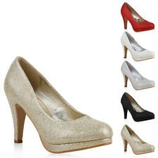 Damen Plateau Pumps High Heels Glitzer Schuhe Party 814213 New Look