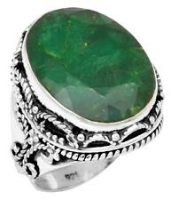 Brazilian Emerald Gemstone Ring Solid 925 Sterling Silver Jewelry IR36685