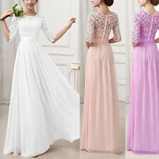 Vouge Womens Formal Long Lace Dress Prom Evening Party Bridesmaid Wedding Dress