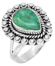 Brazilian Emerald Gemstone Ring Solid 925 Sterling Silver Jewelry IR36933