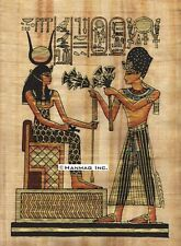 """Egyptian Papyrus Painting - Ramsis II & Isis 8X12"""" + Hand Painted #88"""