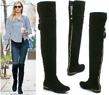 LADIES LOW GOLD HEEL FLAT SEXY SOFT SUEDE OVER THE KNEE HIGH THIGH STRETCH BOOTS