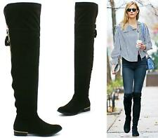 LADIES THIGH HIGH OVER THE KNEE PULL UP ZIP FLAT LOW HEEL STRETCH BOOTS SHOES 3-
