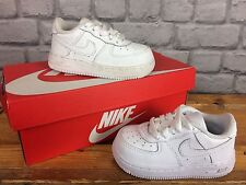 NIKE AIR FORCE 1 INFANTS CHILDRENS TRAINERS IN WHITE LEATHER - VARIOUS SIZES